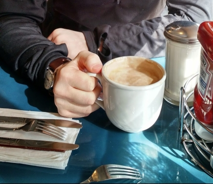 hand - almond milk latte