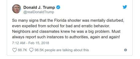 Dtrump on school shooting